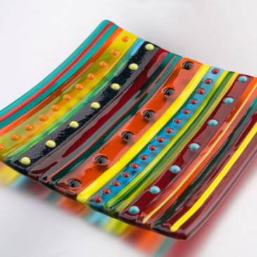 Large Bright Stripe Dish