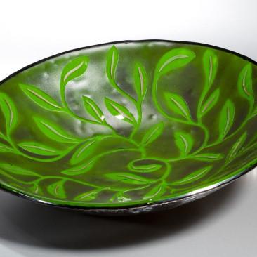 Green Leaf Black Daisy Bowl